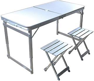 「SUNPIE」テーブル・チェアセット 折りたたみ 収納式アルミレジャーテーブル 軽量アルミ 高さ2段階調節 パラソルホー ル付き アウトドアテーブル キャンプ用品 (120×60cm)