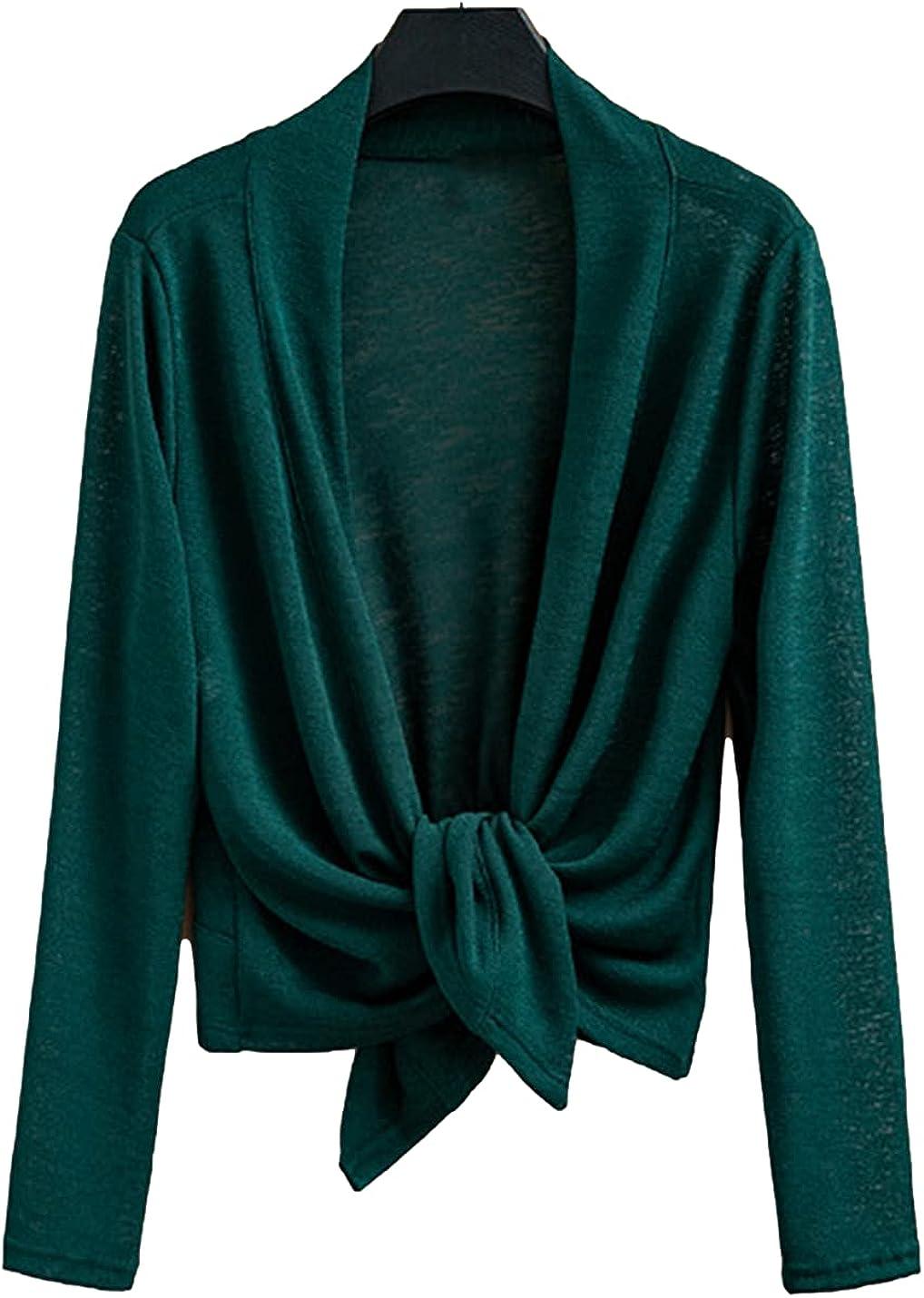 FindThy Women's Lace Knit Tiefront Cardigan Long Sleeve Sheer Cropped Bolero Jacket Shrug