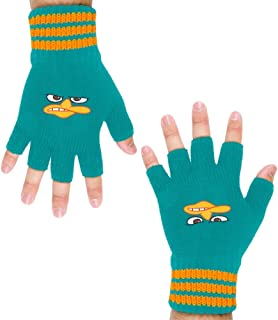 Phineas and Ferb - Mens Phineas& Ferb - Perry Face Knit Fingerless Gloves Blue