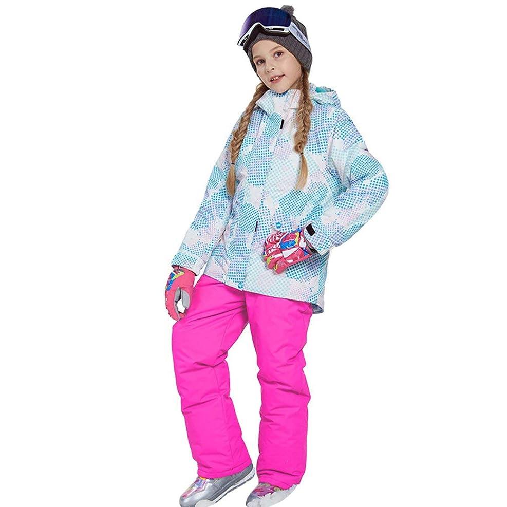 パスタ哺乳類代表するラブリーボーイズガールズウィンタースノーボードパーカージャケットスノービブスノースーツセット暖かいスノースーツフード付きスキージャケット+パンツ2個セット-ピンク122/128