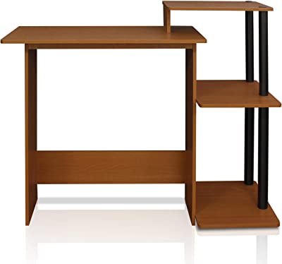 FURINNO Efficient Home Laptop Notebook Computer Desk, Square Side Shelves, Light Cherry/Black