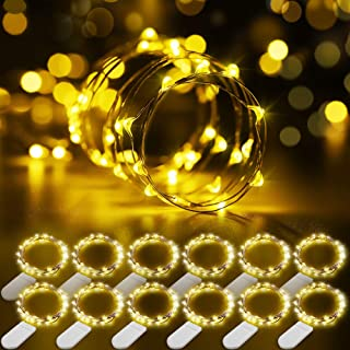 Govee Fairy Lights, 12 Pack LED Fairy String Lights Battery Operated String Lights Waterproof, 3.3ft 20 LEDs Flexible Firefly Starry Moon Lights for Wedding Bedroom Jars Festival Decoration Warm White