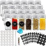 Auckpure Gewürzgläser - 24 Gewürzglas und 144 Runde Etiketten Wiederverwendbares Versiegeltes Gewürzbehälter Vorgedruckte Deutsche Etiketten
