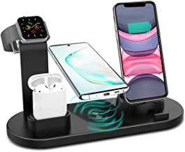 Wireless Charger, 4 in 1 Wireless Charging Station, Charging Dock for iPhone/AirPods, Qi-Certified Fast Wireless Charging Stand iPhone 11/11Pro/11Pro Max/X/XS/XR/Max / 8/8 Plus Samsung(Black)