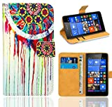 Microsoft Lumia 535 Handy Tasche, FoneExpert® Wallet Hülle Flip Cover Hüllen Etui Ledertasche Lederhülle Premium Schutzhülle für Microsoft Lumia 535 (Pattern 14)