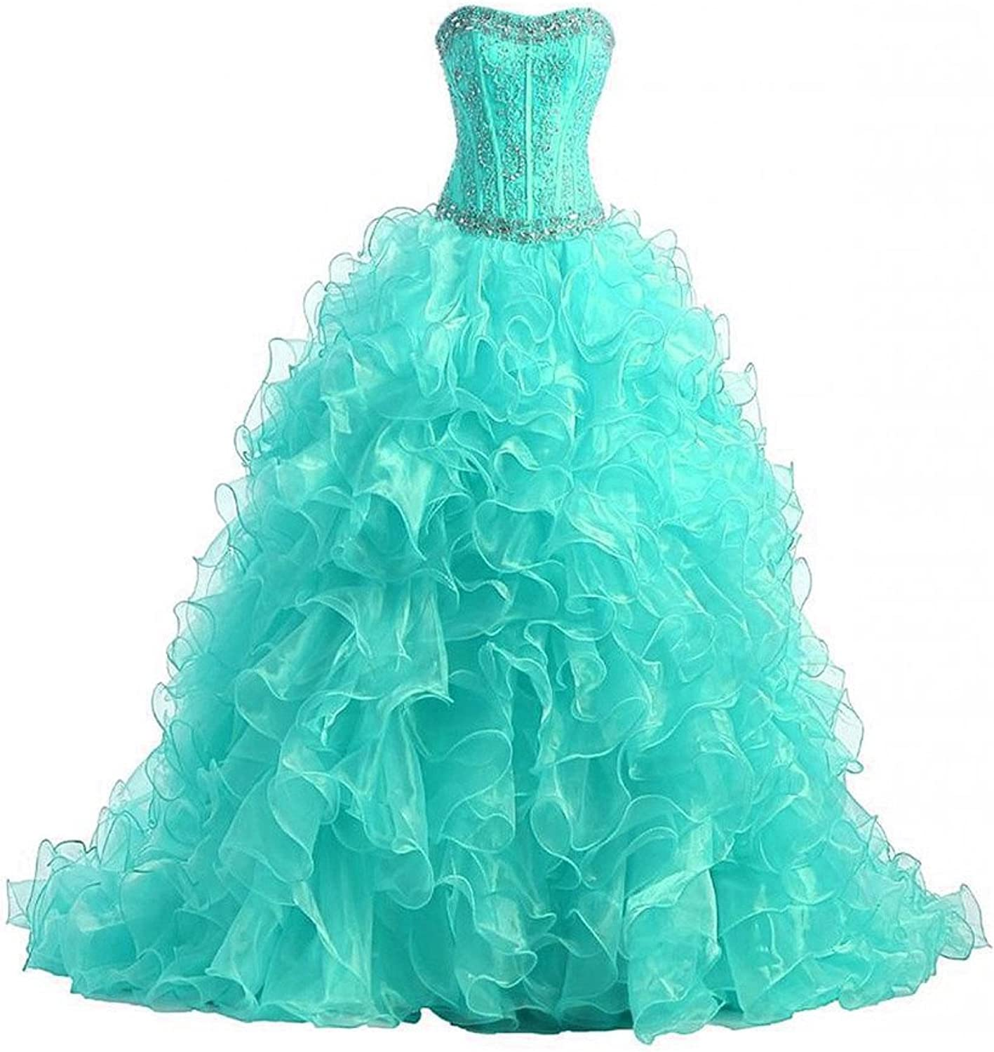 HSDJ Women's Beading Corset Tailing Quinceanera Ball Gowns with Embroidery 0 US Turquoise