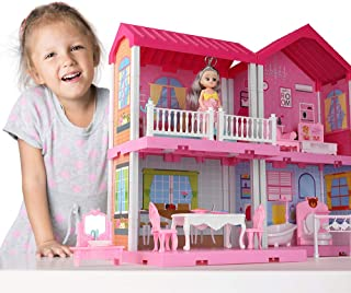 Temi Dollhouse Dreamhouse Building Toys Figure w/ Furniture, Accessories, Pets and Dolls, DIY Cottage Pretend Play Doll Ho...