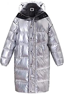 Ladies Down Jacket Men and Women Couples Laser Silver Lengthened Thickened Loose Loose Warm Down Jacket Suitable for Daily Commuting and Outdoor Warmth (Color : Silver, Size : XXL)