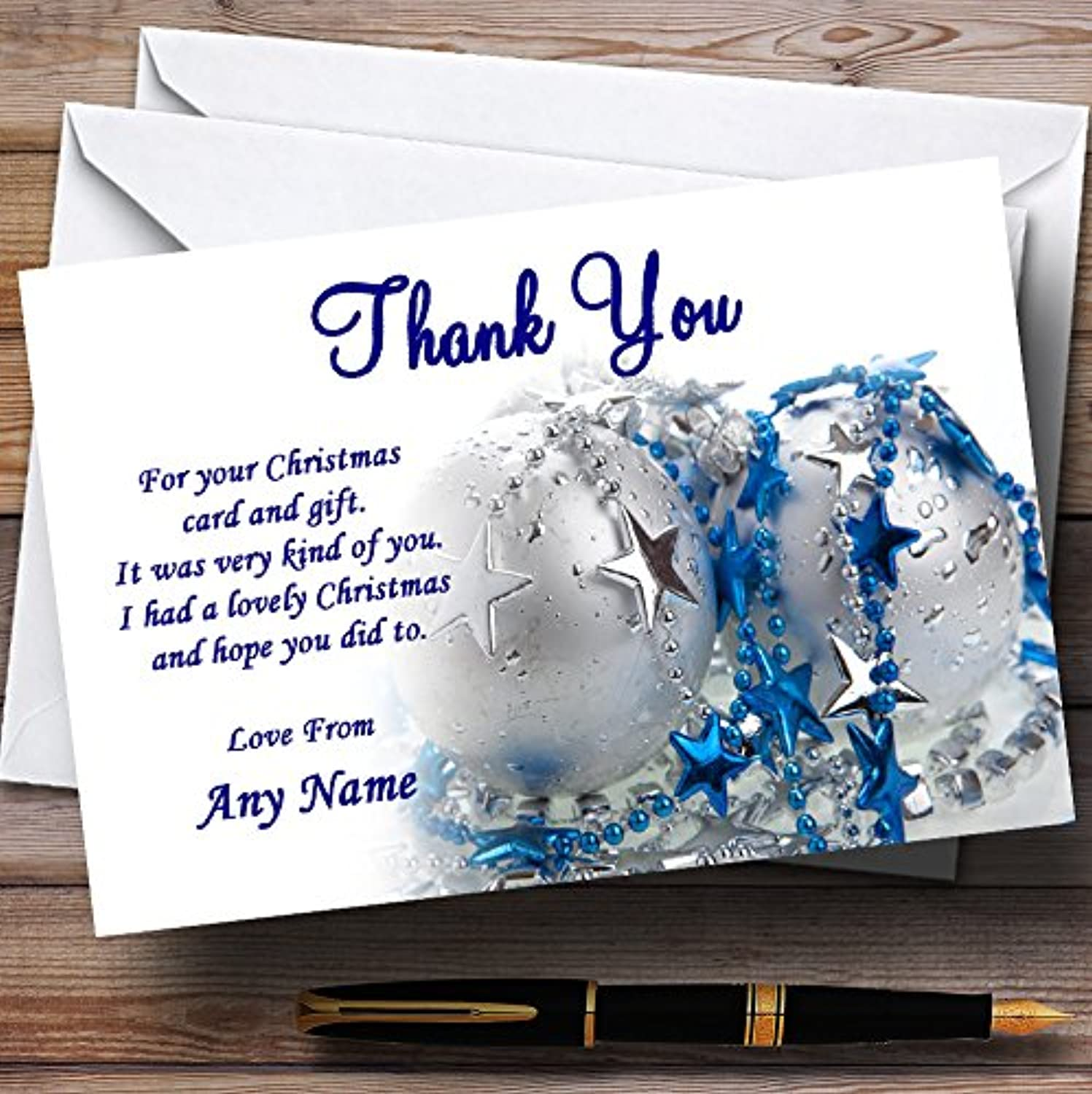 bluee And White Personalised Christmas   New Year   Holiday Party Thank You Cards