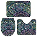 Tribal Totem with Mysterious Pattern Bath Rug 3 Piece Bathroom Rugs Set, 1 U-Shape Toilet Mat & 1 Doormat & 1 Lid Cover - Soft Non-Slip Washable Floor Rug for Tub Shower