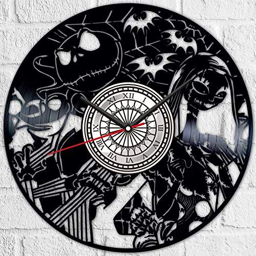 Pesadilla antes de la Navidad vinilo disco reloj de pared estilo retro reloj de pared silencioso decoración del hogar único arte especial accesorios creativos personalidad regalo