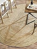 Alfombra ovalada Rugsite 100% yute, 90x150cm. pelo trenzado natural. Estilo americano. Cocinas, conservatorios. Vendedor del Reino Unido …