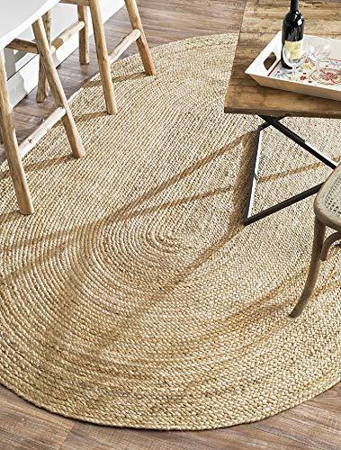 Rugsite Teppich, 100 % Jute, oval, 90 x 150 cm, natürlicher geflochtener Flor, amerikanischer Stil, Küche, Wintergärten