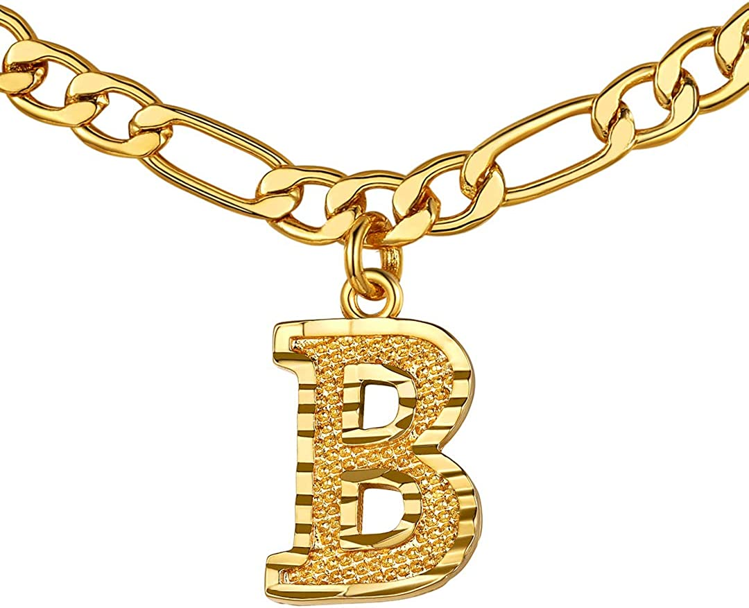 GOLDCHIC JEWELRY Initial Figaro Necklace, Personalized Men/Women A-Z Monogram Letter Choker Necklaces 18K Gold Plated with Figaro Chain 16