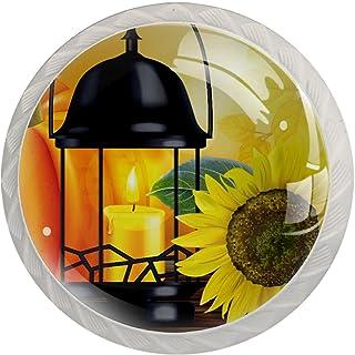 Boutons De Tiroir Verre Cristal Rond Poignées d'armoires tirer 4 pièces,automne fleur citrouille bougie lumière automne ac...