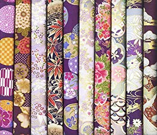 10 Purple Asian Japanese Fat Quarter Quilt Fabric Bundle #37 (2 1/2 Yards Total)