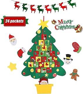 Christmas Advent Calendar, 2020 Wall Hanging Felt Christmas Tree Advent Calendar with 24 Days Pockets Xmas Countdown Calen...