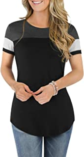 DJT Women's Round Neck Color Block Blouse Short Sleeve Casual Tee Shirts Tunic Tops