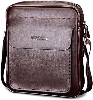 5494effca8c Mufly Men s Genuine Leather Shoulder Bag Handmade Messenger Briefcase  Crossbody Handbag Ipad Bag (Brown)