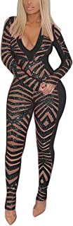 OLUOLIN Womens Sexy Bodycon Mesh Striped Sheer Long Sleeve Pants Jumpsuit Outfits