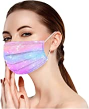 Qistubay 50PC Adult Disposable Face Mouth Starry Tie-dye Gradient Printed Anti-Dust Protection Breathable Elastic String