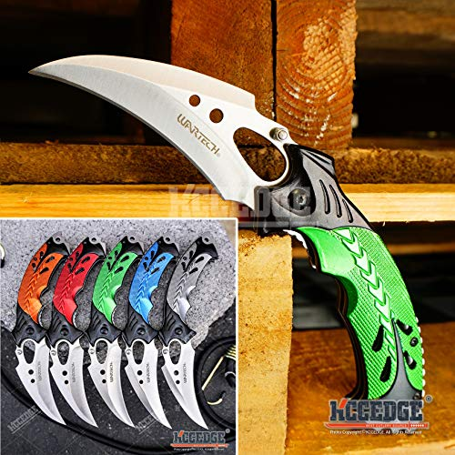 KCCEDGE BEST CUTLERY SOURCE EDC Pocket Knife Camping Accessories Razor Sharp Edge Karambit Folding Knife Camping Gear Survival Kit 56652 (Blue)