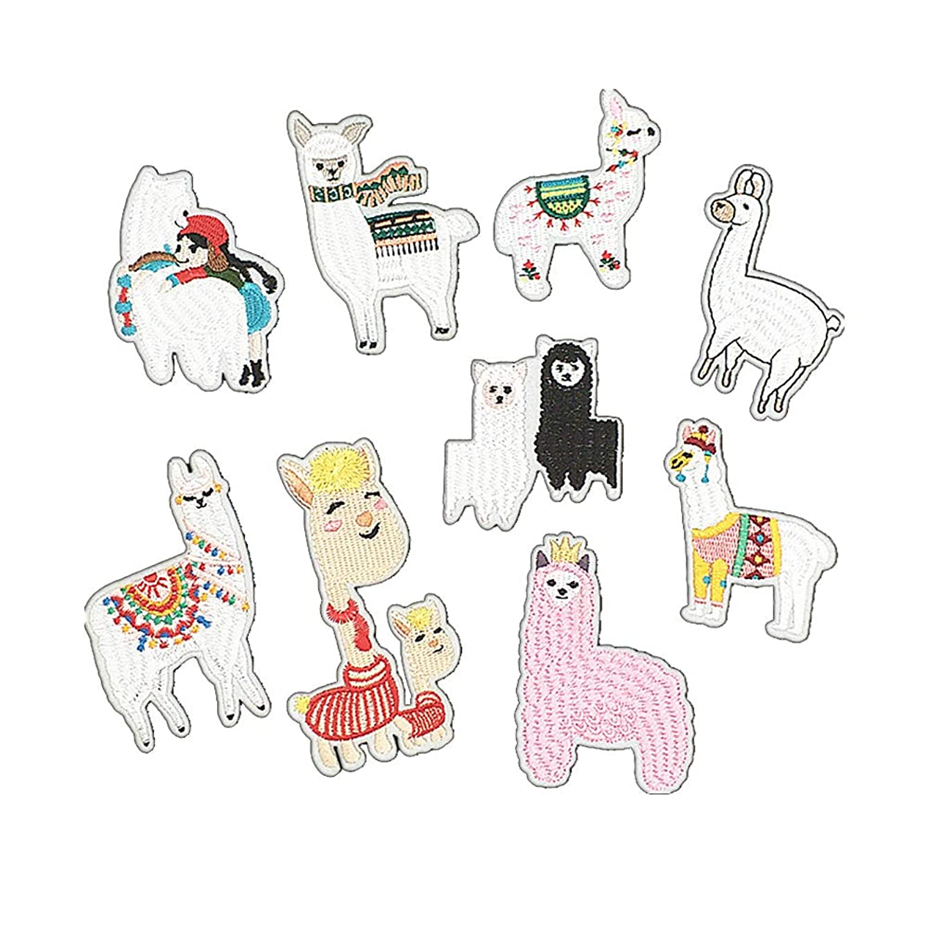 ARTEM Sheep Patch Alpaca Patch Iron On/Sew On Patch Embroidered Badge Patch Children's Clothing Decorative Applique Patches for Bag Shoes Pants Jeans Jackets(9 PCS)