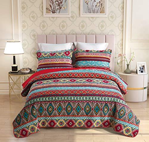 Qucover Boho Tagesdecke 220x240cm, Baumwolle Bettüberwurf für Doppelbett, Gesteppte Bunte Decke Set mit Kissen, Indischer Sofaüberwurf