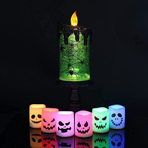 discount Eldnacele Halloween Snow Globe Candles lowest Lighted Lamp, Battery Operated online sale Spooky Spinning Water Glittering Tornado Candles 12 Color Changing LED Tea Lights Candles with Remote Control online sale