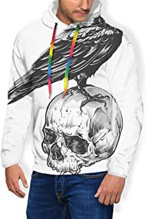 GULTMEE Men's Hoodies Sweatershirt, Scary Movies Theme Crow Bird Sitting on a Human Old Skull Sketchy Image,5 Size