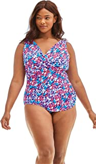 38b108ec3399a Woman Within Plus Size Sarong Surplice One-Piece with Shirring