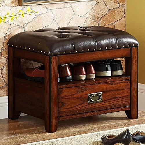 YISUNF Zapato zapatero Banco de Almacenaje zapatero zapato Pasillo Bastidores de almacenamiento Bench Seat zapato Gabinete de madera Banco de roble zapato Muebles 60 x 41 x 46 cm caja de zapatos (Colo