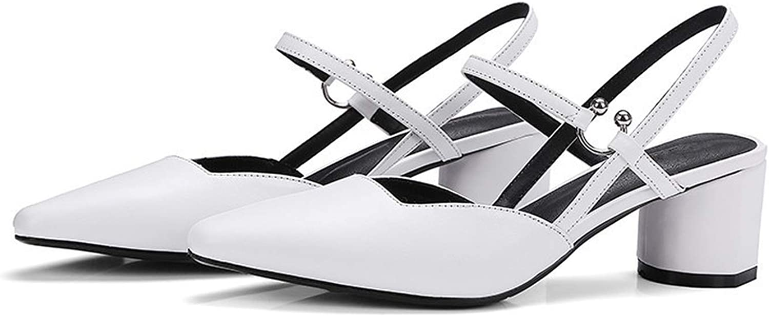 shoes in Summer high Square Heels shoes 5.5cm White Genuine Leather shoes Sexy Lady Party Women Sandals