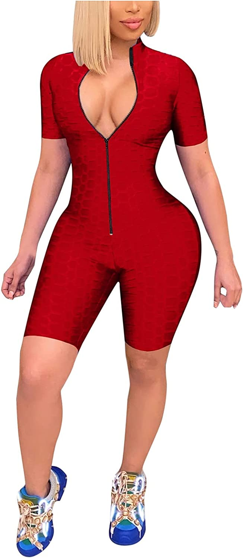 Euone_Clothes Jumpsuit for Women, Women's Casual Jumpsuit Long Zipper Sports Yoga Gym Short Jumpsuit