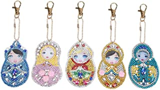 STOBOK 5Pcs Bag Pendant Charms Russian Doll DIY Diamond Painting Rhinestone Ornaments for Purse Handbag Backpack