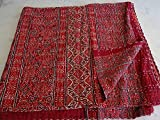 Janki Creation Ajarak Queen Size Ikat Kantha Edredón Reversible, Colcha India, Colcha Kantha, Colcha Bohemia Kantha, Indian Kantha Decor 002