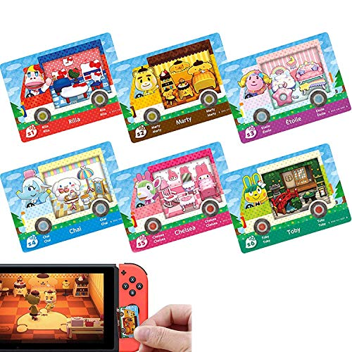 6pcs Collaboration Pack for Animal Crossing New Horizons ACNH Amiibo Mini Card, RV Villager Furniture Compatible with Switch/Switch Lite/New 3DS