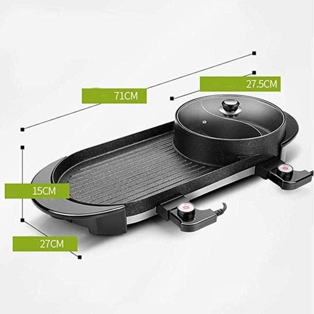 Excellent Électrique Table Top Grill Barbecue Réchaud Ménage Barbecue Pot antiadhésifs sans fumée Teppanyaki Grill Pan (Couleur: Noir) (Color : Black) Black