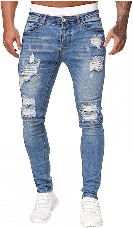WUAI Mens Ripped Skinny Jeans Fashion Stretch Destroyed Distressed Denim Pants Tapered Leg Slim Fit Moto Biker Jeans