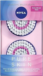 NIVEA Pure Skin Sensitive borstelkop in verpakking van 2 (1 x 2 borstelkopen), opzetstuk voor de elektrische gezichtsreini...