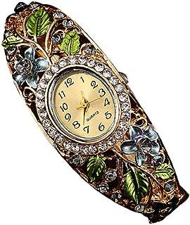 AmyDong Women Retro Diamond Bracelet Watch Women Bangle Crystal Flower Bracelet Quartz Watch Wristwatc