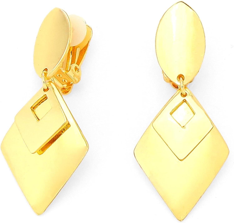 2-Layers Metal Diamond Shape Disc Drop Clip on Earrings / AZERCO553-GLD