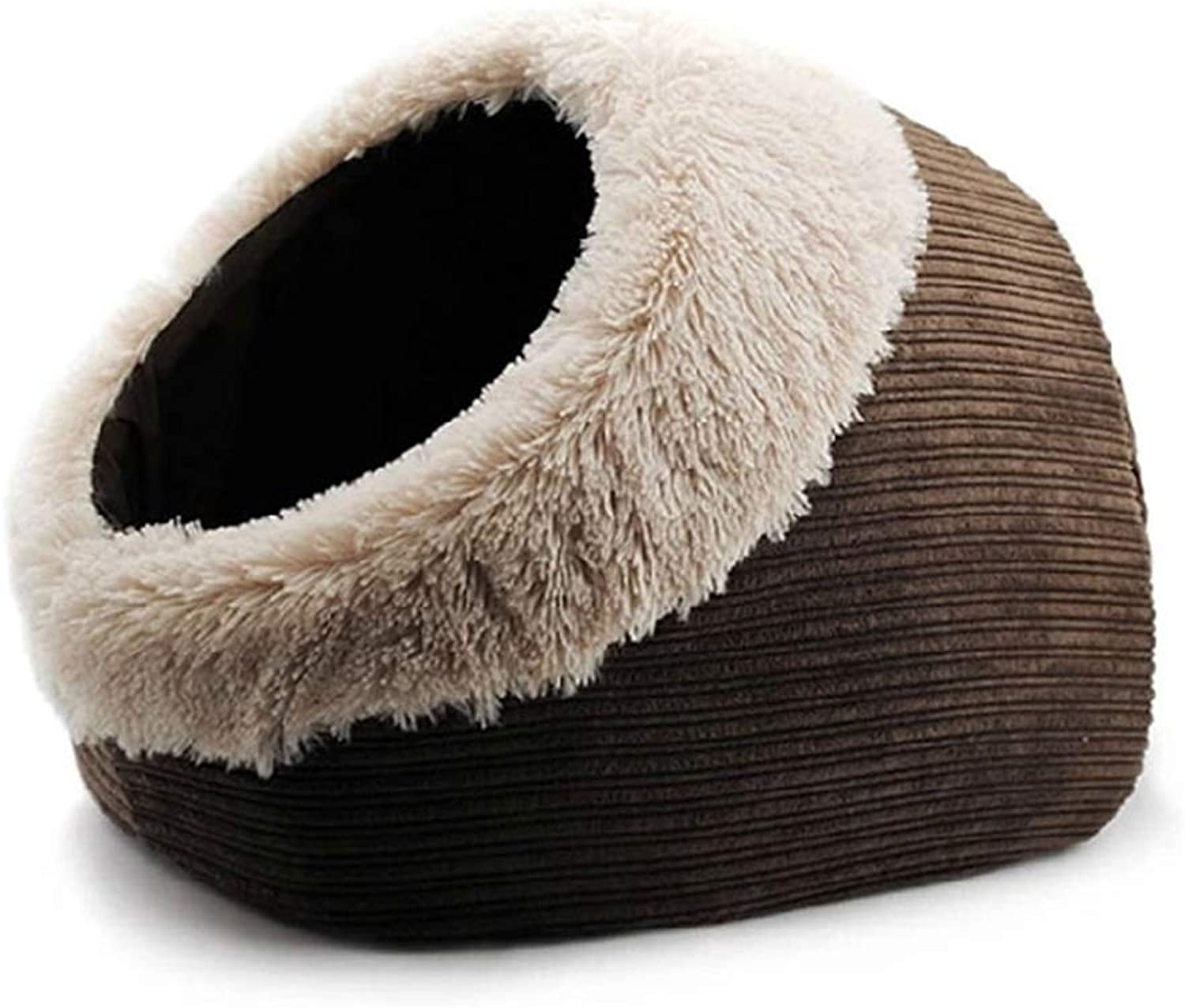 Closed Chocolate Cat Nest, Warm Indoor Cat Bed House Cozy Cat Sleeping Bag Pet Tent Pet Cave Removable and Washable Mat,Brown