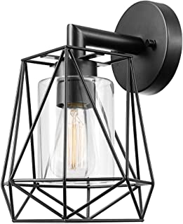 Globe Electric 44300 Sansa 1-Light Outdoor/Indoor Wall Sconce, Black, Clear Glass Inner Shade