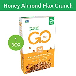 Kashi GO Honey Almond Flax Crunch Breakfast Cereal - Non-GMO   Vegetarian   14 Ounce (Pack of 1)