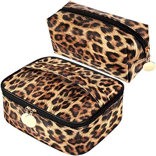 2 Bolsas Cosméticos Impresas Leopardo Bolsa Aseo