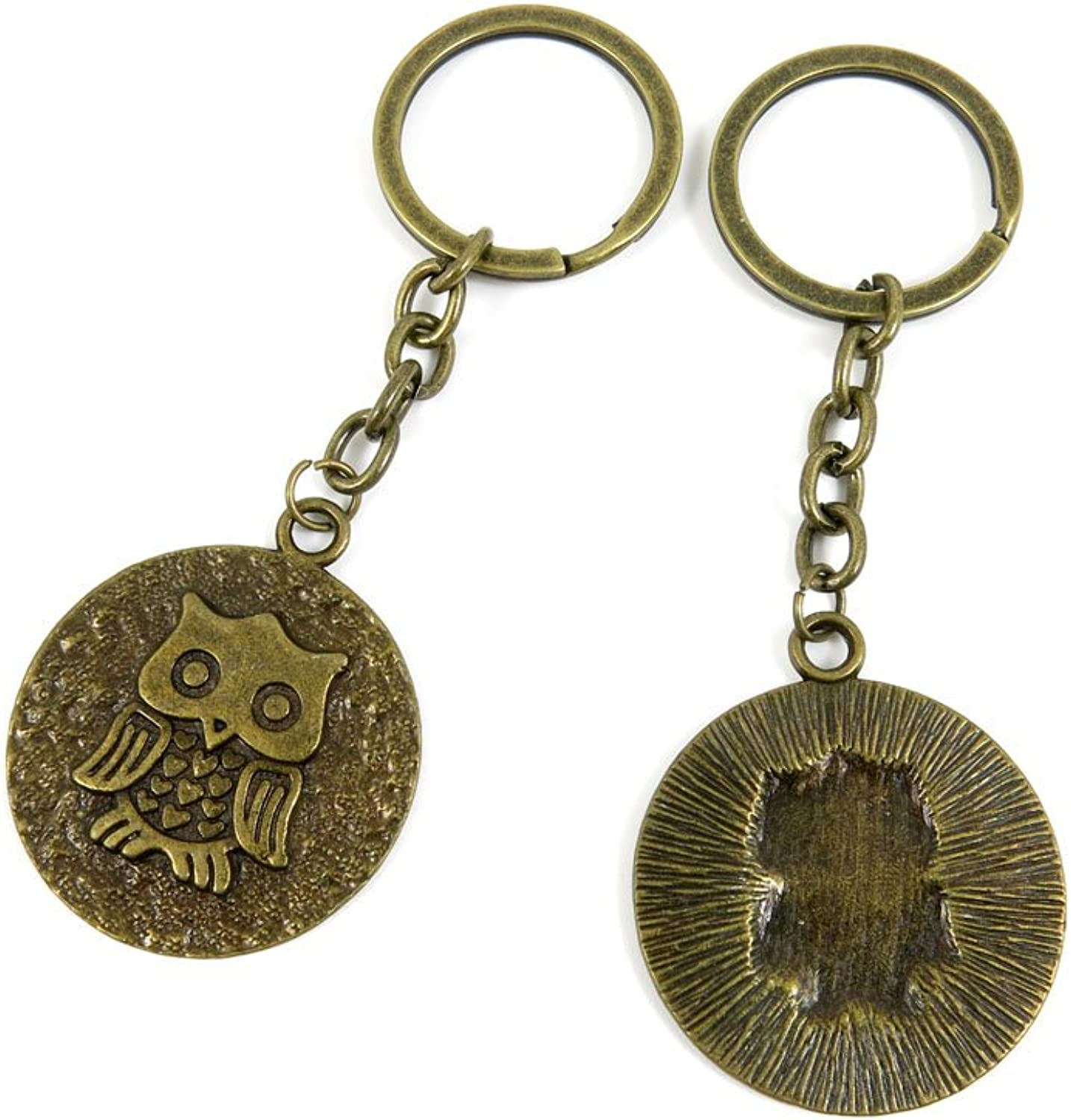 100 PCS Keyrings Keychains Key Ring Chains Tags Jewelry Findings Clasps Buckles Supplies E5UF2 Owl Signs