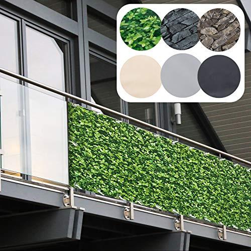 Balkon Sichtschutz PVC | 90x600 cm | Extra Blickdicht | Balkonverkleidung aus wetterfestem Kunststoff mit UV-Schutz | Deko für Balkongeländer, Terrasse & Garten | viele Farben & Designs (Buchsbaum)