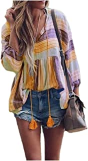 Energy Womens Tassels Casual V-Neckline Plus Size Floral Tops