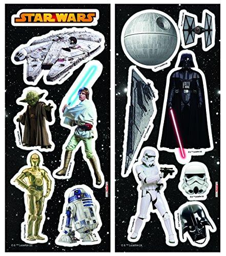 Komar 14802 Deco-Sticker Star Wars, Größe 14 x 33 cm, 2 Bogen, 13 Teile, rückstandsfrei abzulösen und wiederaufklebbar, Bunt, 33 x 14 cm